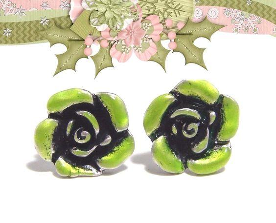 Beautiful Pierced Earrings Lime Green Enamel Rose Design Excellent Condition! #Unbranded #PiercedEarrings