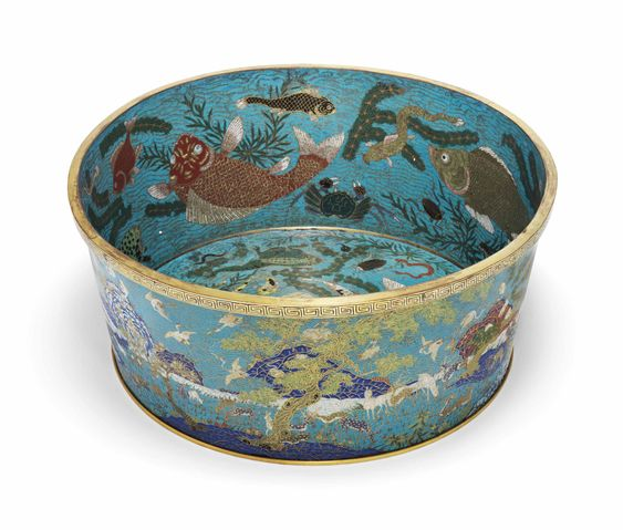 A rare large cloisonné enamel fish basin, China, Qing dynasty, Qianlong period (1736-1795)