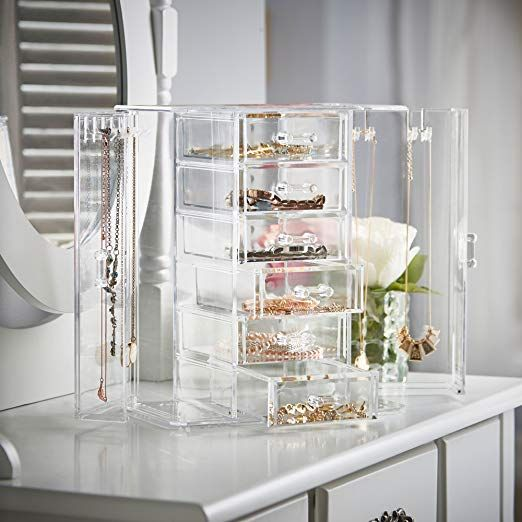 Clear Acrylic Jewelry Organizer Chest Makeup Storage Box With 6 Drawers Hanging Necklace Holder Clear Jewellery Storage Makeup Storage Box Jewelry Mirror