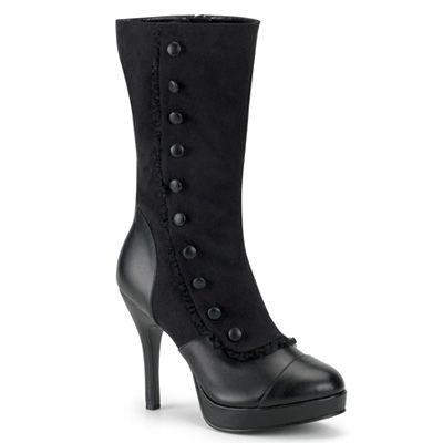Splendor-130 zwart- victoriaanse laarzen met knopenrij