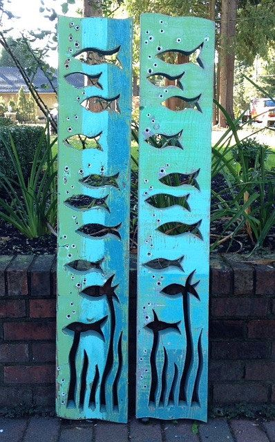 Fish Art Panel Sign Wall Decor Vertical Driftwood or Sea Glass Colours Beach Lake House Cabin Cottage by CastawaysHall    Made to Order. Please