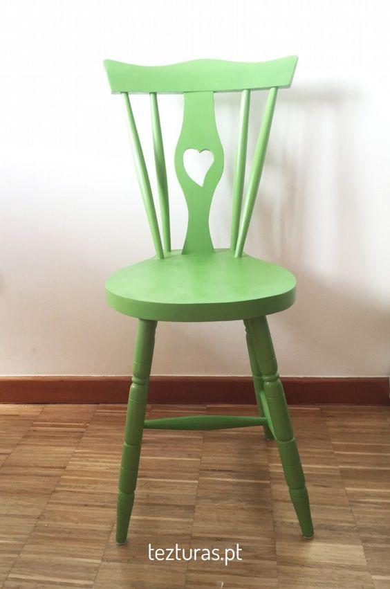 Cadeira rabo de bacalhau coração. Tezturas.pt