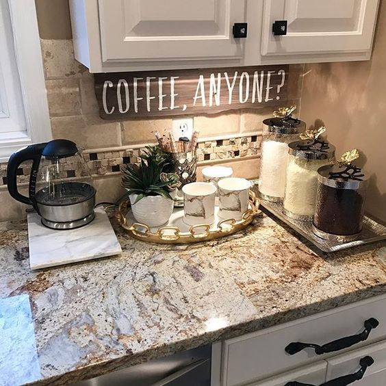 My coffee bar in my kitchen is def the highlight of my morning! @farahmerhi_ check out my personal page for sources. ❤️                                                                                                                                                                                 More: