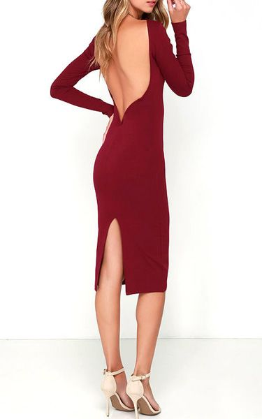 Va Va Voom Wine Red Backless Midi Dress @HLV - I will pay for this dress - no problem.