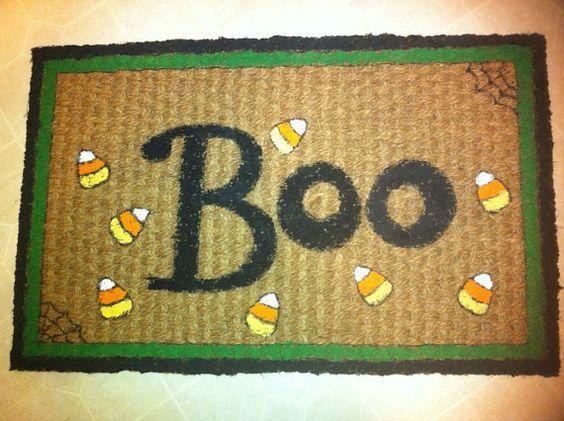 Halloween Boo Rug for front door to celebrate by MyChameleonHeart, $20.00