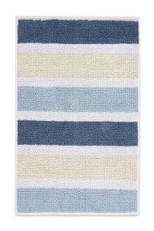 Blue Stripe Mini Loop Bath Mat