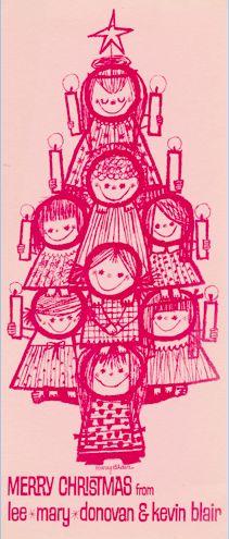 Vintage Mary Blair Family Christmas card