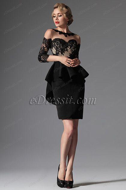 eDressit Black Stylish Round Neckline Mother of the Bride Dress (26147400)