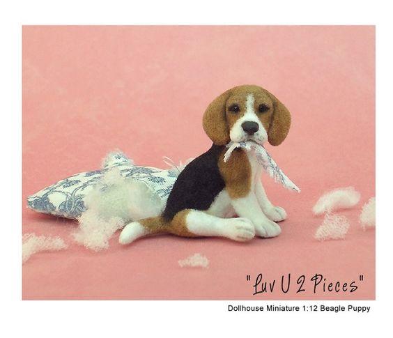 Beagle pup - 'luv U 2 pieces' miniature sculpture by Kerri Pajutee