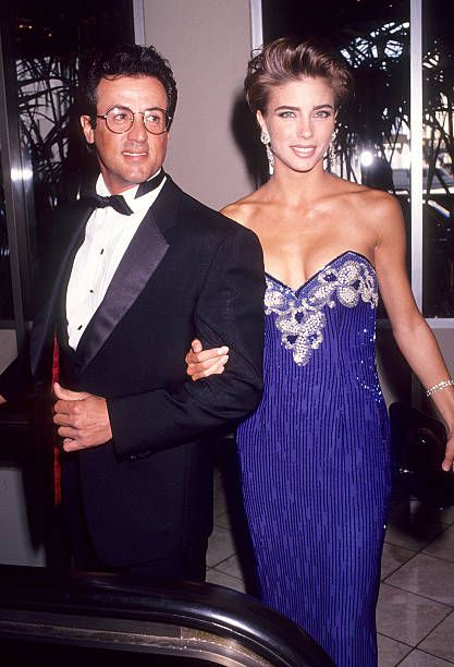 Actor Sylvester Stallone and girlfriend Jennifer Flavin attend the Simon Wiesenthal Center's National Leadership Award Salute to Arnold...