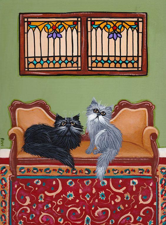 The Persian Cats Room Original Cat Folk Art Painting by KilkennycatArt on Etsy