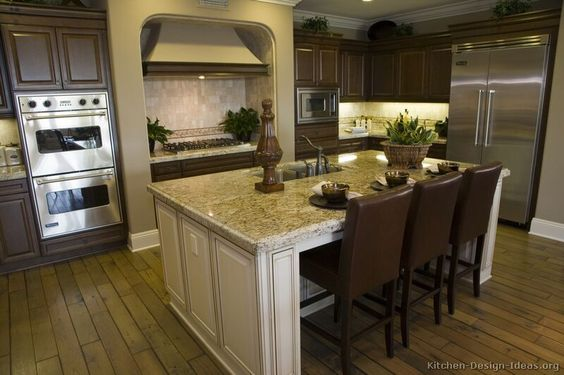 Traditional Two Tone Kitchen Cabinets Dark Cabinets With Light Colored Island This One Is Done
