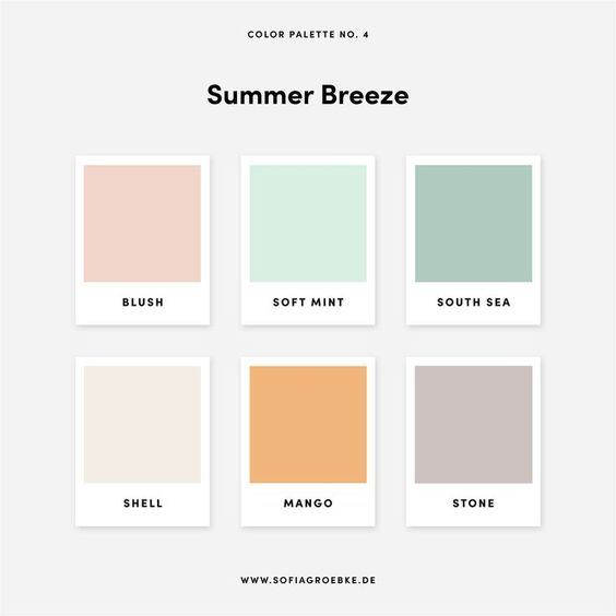 Summer Breeze Color Pallete - Farbtrends 2020 Grafikdesign und Interieurdesign +  5 Farbpaletten / Color Palettes