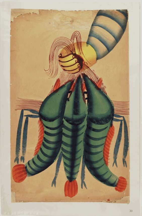 Kalighat paintings –– hand with three prawns
