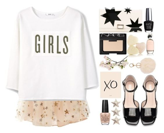 """""""Girls Rock"""" by juliehalloran ❤ liked on Polyvore featuring Valentino, MANGO, Roger Vivier, NARS Cosmetics, OPI, Comme des Garçons, Crate and Barrel, xO Design and Armitage Avenue"""