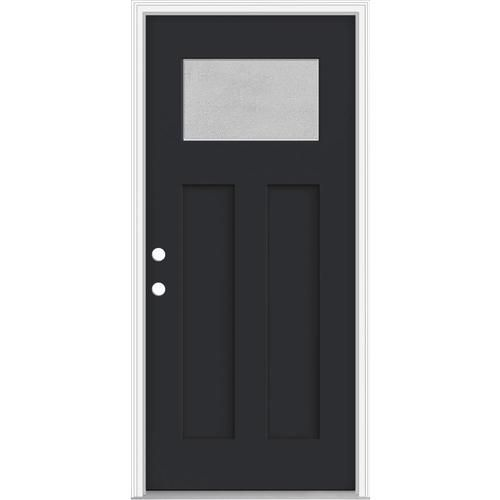 Jeld Wen Microgranite Craftsman Privacy Glass Right Hand Inswing Peppercorn Painted Fiberglass Prehung Entry D In 2020 Entry Doors Privacy Glass Fiberglass Entry Doors
