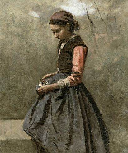 """""""A Pensive Girl"""" by Jean-Baptiste Camille Corot"""