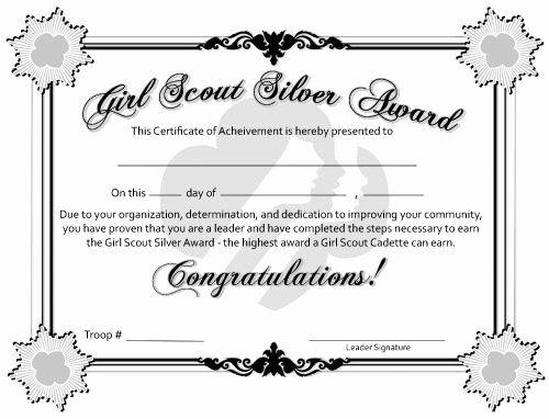 Junior Achievement Certificate Template Unique Free Printable Bronze Silver And Gold Award Certifi Girl Scout Silver Award Girl Scout Badges Girl Scout Juniors