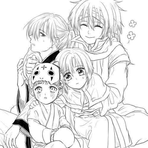Akatsuki no Yona / Yona of the dawn anime and manga || Zeno, Shin ah, Jaeha, and Kija. Four dragons