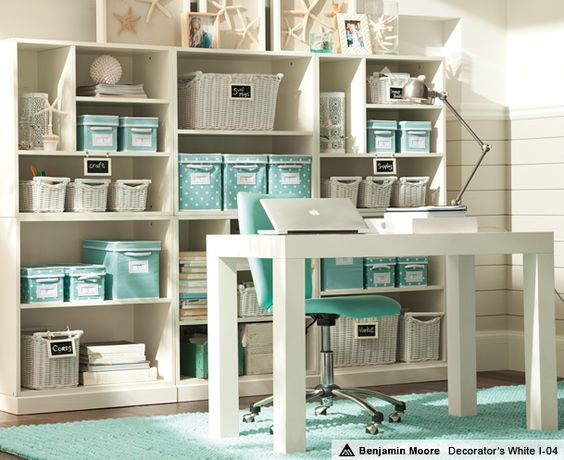Home Office - Study ideas for storage using a fun punch of color, turquoise. Simple Parson's style deck would be easy to make as well. photo credit:  PBteen