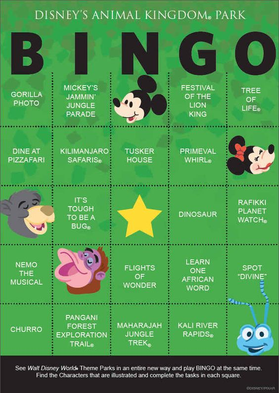Download and print out these Disney Bingo cards.