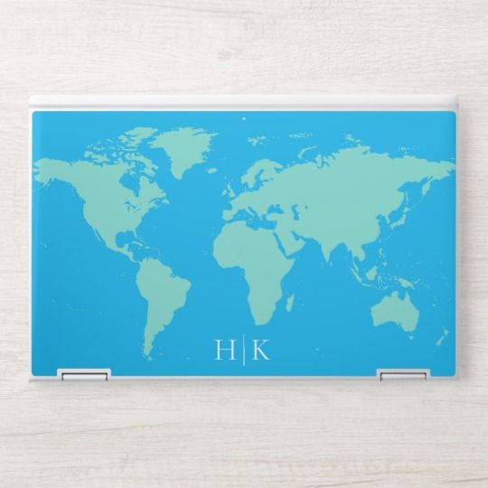 Choose All Colors World Map Monogram Hp Laptop Skin Zazzle Com Color World Map Colorful Backgrounds Hp Laptop Skin