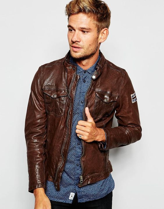 Pepe Leather Biker Jacket Guzzi Zip Thru | British Brown leather