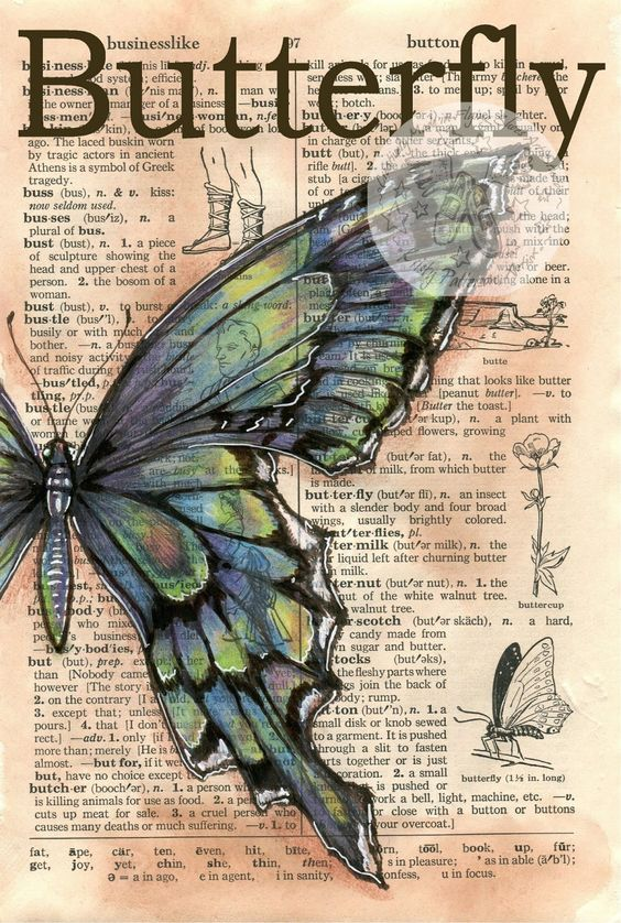 Blue-Green Butterfly Mixed Media Drawing on Distressed, Dictionary Page - available for purchase at www.etsy.com/shop/flyingshoes - flying shoes art studio