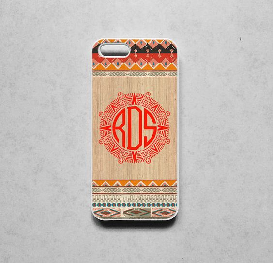 iphone 5S case Monogram case Aztec Tribal Folk art by jame21shop