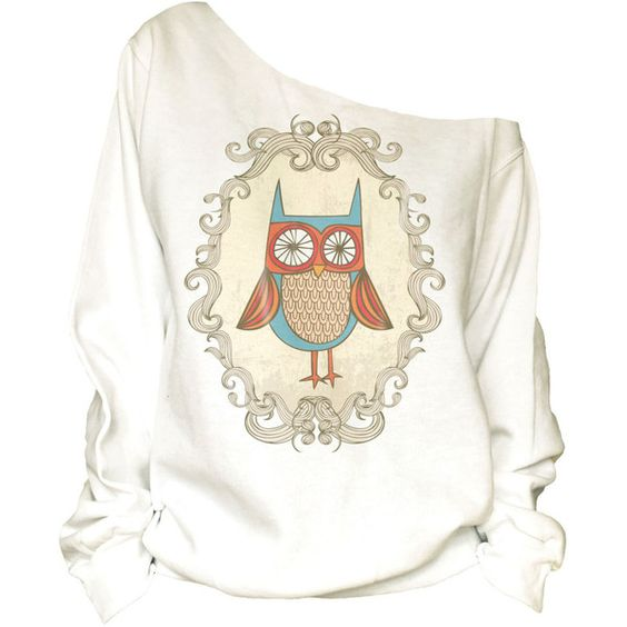 Vintage Owl in the Frame Print Off Shoulder Slouchy Oversized Raw Edge... ($32) ❤ liked on Polyvore featuring tops, hoodies, sweatshirts, white, women's clothing, white top, off the shoulder sweat shirt, white off shoulder top, vintage sweatshirt и slouchy sweatshirt