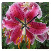 Lily Stargazer Purple Flower Wall Clocks