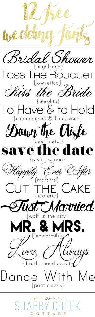 free wedding fonts {personal use only} @ ShabbyCreekCottage ~~ {12 free fonts w/ easy download links}