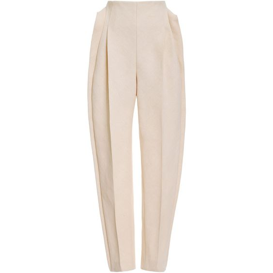DELPOZO Front Pleat Pant (€2.130) ❤ liked on Polyvore featuring pants, bottoms, high rise pants, pleated pants, high-waisted trousers, high-waisted pants and pink pants