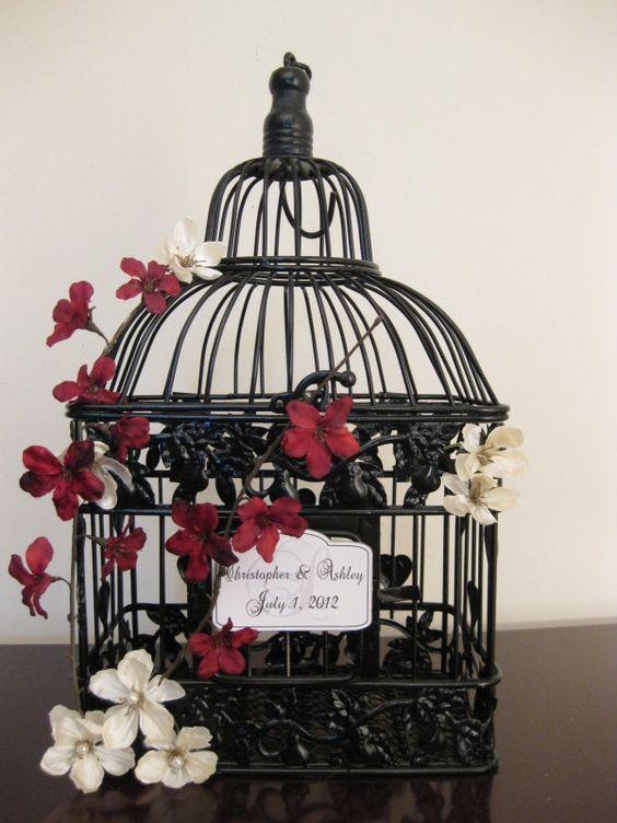 Black Bird Cage Wedding Card Holder / Wedding Card Holder Birdcage / Wedding Birdcage. $45.00, via Etsy.