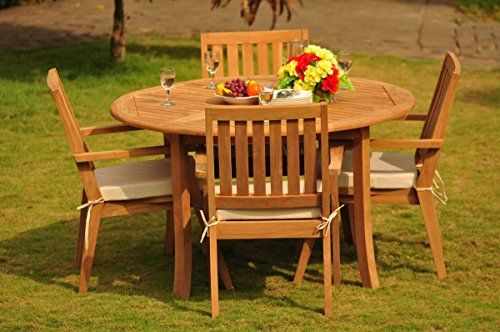 new 5 pc luxurious gradea teak wood outdoor dining set 52 round table and 4 palmer