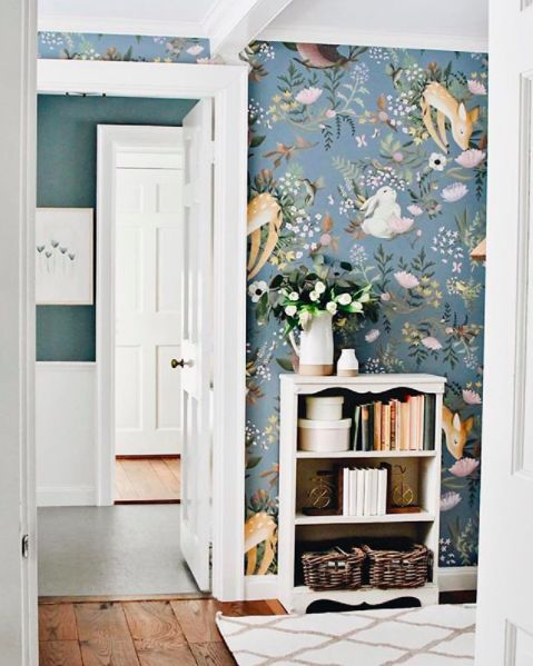 Oh Deer Wallpaper Forest Bunny Scene Mural Floral