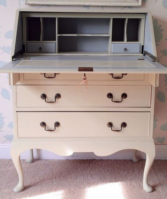 Lovely Antique Writing Bureau Handpainted In Farrow & ball Old White.