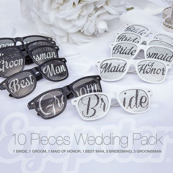 Wedding Gift Ideas For Bride And Groom From Maid Of Honor : 10pcs Wayfarer WEDDING SUNGLASSES PACK (Bride, Groom, Maid of Honor ...