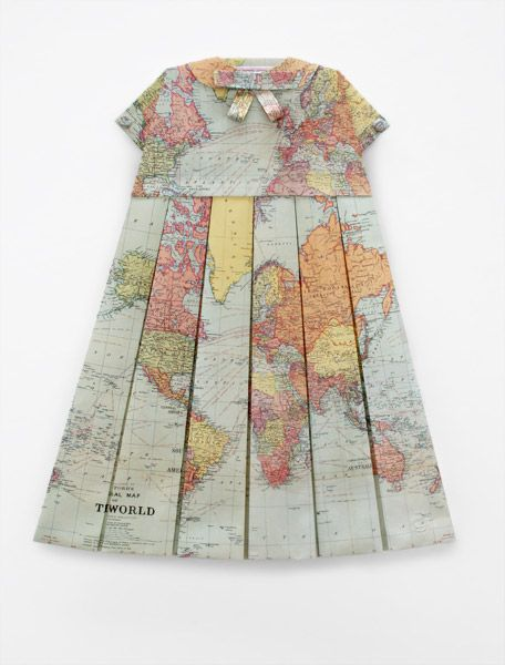 Dress made of maps.