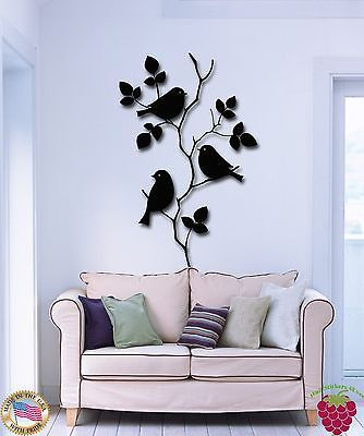 Wall Stickers Vinyl Decal Bird Branches Tree Floral Decor For Bedroom (z1741)