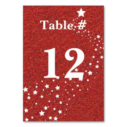 Red Glitter Look Holiday Table Number Table Cards