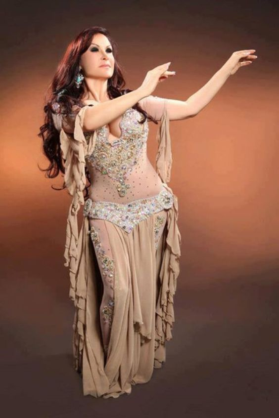 Nude belly dance costume with glitter and gems on the body stocking and legs (on pantyhose)