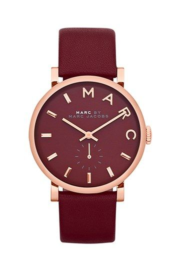 MARC BY MARC JACOBS 'Baker' Leather Strap Watch, 37mm   Nordstrom