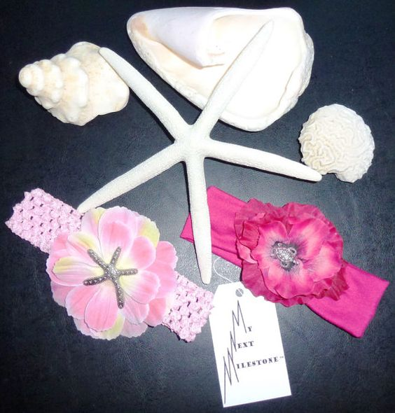 Perfect Summer Accessory for a baby girl!  Pink & Fuchsia Beach Flower headbands with Starfish & Sea turtle embellishment!