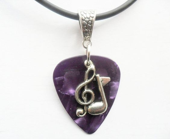 "New to absolutemarket on Etsy: Purple Guitar pick necklace with treble clef music note charm that is adjustable from 18"" to 20"" (4.99 USD)"