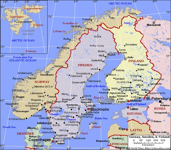 map of sweden Political Map of Norway Sweden and Finland – Finland Tourist Attractions Map