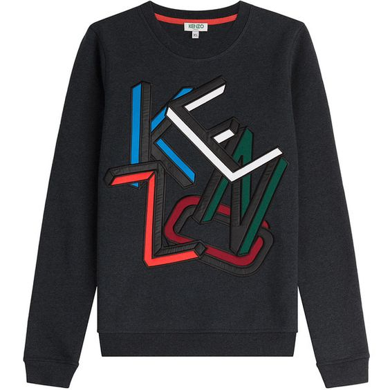 Kenzo Embroidered Cotton Sweatshirt (780 SAR) ❤ liked on Polyvore featuring tops, hoodies, sweatshirts, grey, grey top, embroidered sweat shirts, embroidered top, sweatshirts hoodies und kenzo