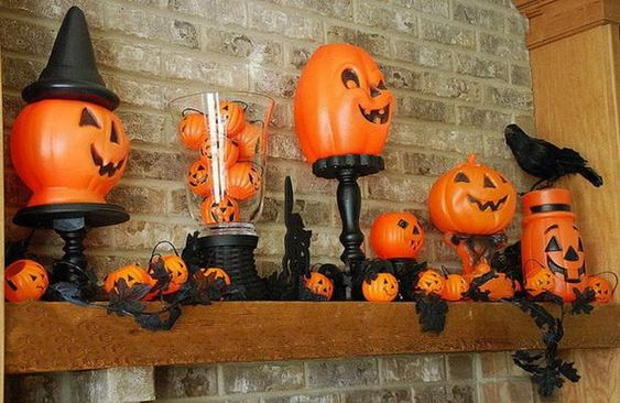 Mantel  Decorations : IDEAS & INSPIRATIONS :Halloween Fireplace Mantel Decorating Ideas