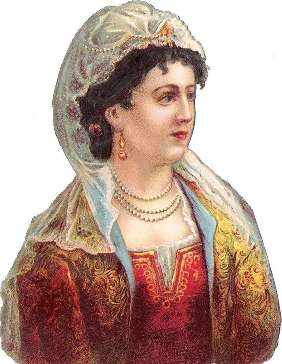 Oblaten Glanzbild scrap die cut chromo Dame lady femme national costume pearls: