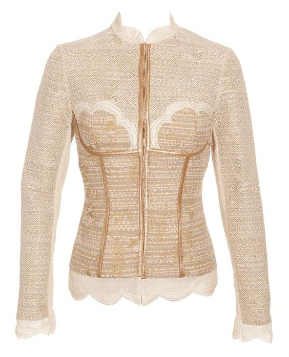 bouclé tweed wool jacket w/corset worth browns